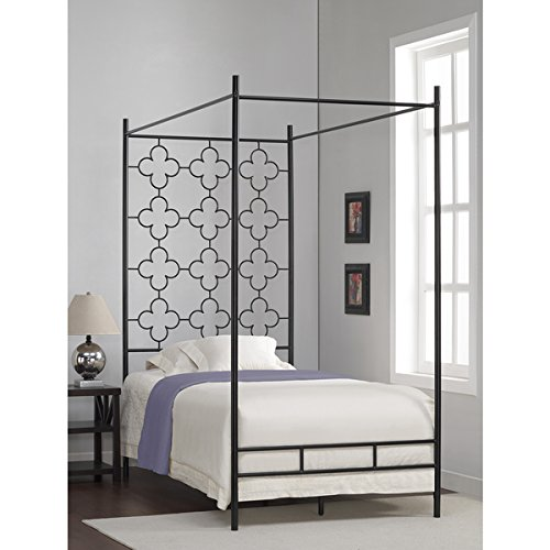 Metal Canopy Bed Frame Twin Sized Adult Kids Princess Bedroom Furniture Black Wrought Iron Style Vintage Antique Look Hang Shear Curtains or Mosquito Nets Bedding Pillow Not Included (Twin)