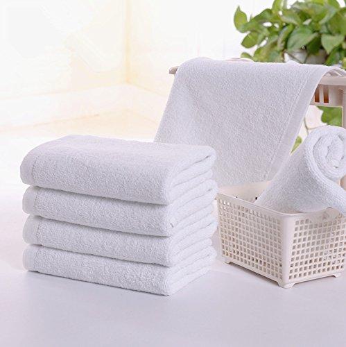 Lot de 3 serviettes en 100% coton uni visage - Pour la gym, le sport, l'exercice, les voyages - Blanc - 33 x 75 cm