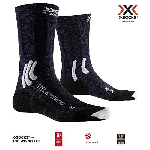 X-SOCKS Trek X Merino Chaussette Mixte Adulte, Bleu (Midnight Blue/Arctic White), L (Taille Fabricant : 42-44)