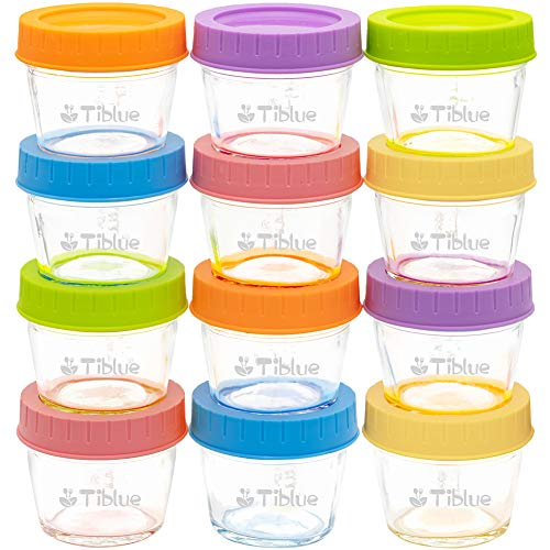 Glass Baby Food Storage Containers Set of 12, Leakproof 4 oz Glass Baby Food Jars with Lids & Marker, Reusable Small Glass Baby Food Containers for Infant & Baby, Freezer, Microwave & Dishwasher Safe