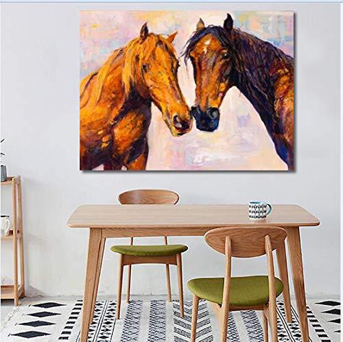 YuanMinglu Cartel de Arte de Pared Pintura de Caballo Moderna Abstracta sobre Lienzo Animal Pintura sin Marco Mural 30x40cm