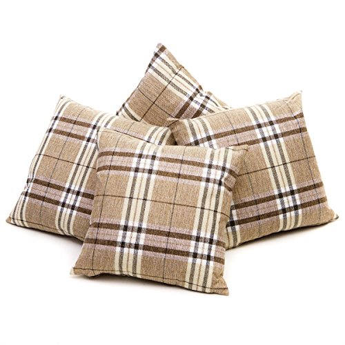 Set of 4 Latte, Cream & Brown Tartan Check Cushion Covers Regular 18 inch (45 cm) or Large 22 inch (55 cm) (18' x 18')