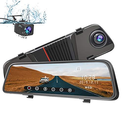 AWESAFE Dashcam Rückspiegel 10 Zoll Full HD Touchscreen 1080P Frontkamera und 1080P wasserdichte Rückfahrkamera Streaming Autokamera