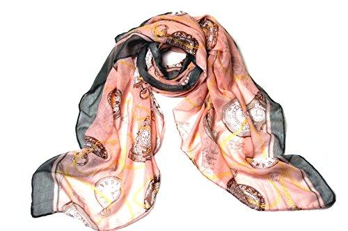 Superbe suspension soie Motif horloge et polyvalent Longue Chaîne femme en mousseline de soie écharpe châle Tour 4 couleurs disponibles