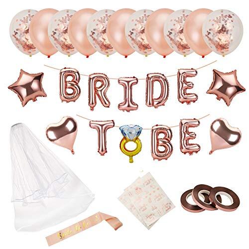 Ulikey Bride to BE Décorations Or Rose, Bride to BE Ballons, Voile de Mariée, Bride to be Echarpe Ceinture en Satin pour Douche Nuptiale Bachelorette,Hen Party Decorations