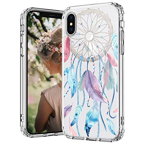 MOSNOVO iPhone Xs Case, iPhone X Case, Dream Catcher Clear Design Printed Transparent Hard Back Case with TPU Bumper Protective Case Cover for iPhone X/iPhone Xs