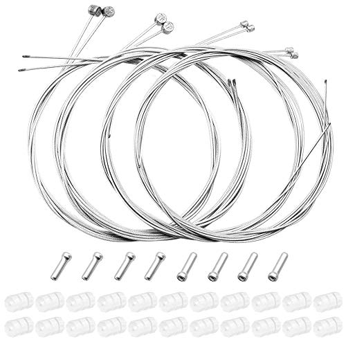 WooDlan 4 Pcs Front Rear Brake Cable for Mountain Bike 4 Pcs Front Rear Shifting Speed Cable for MTB Bike Road Bike Bicycle Replacement