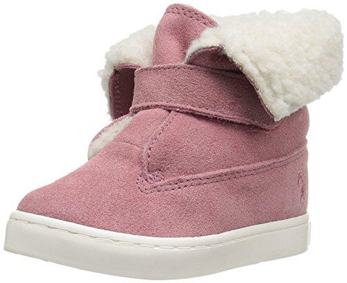 Polo Ralph Lauren Kids Girls' Siena Bootie Sneaker, Pink Suede, 9 Medium US Toddler