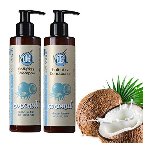 NGGL - Pack de champú y acondicionador veganos con aceite de coco 100% natural y sal marina para pelo encrespado, 200 ml cada uno