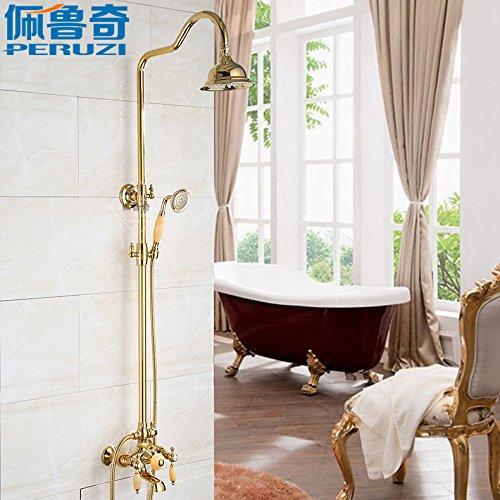 Hlluya Professional Sink Mixer Tap Keuken Kraan Rosin geel natuurlijke jade douche kit volledige koper antieke goud douchecabine mengkraan