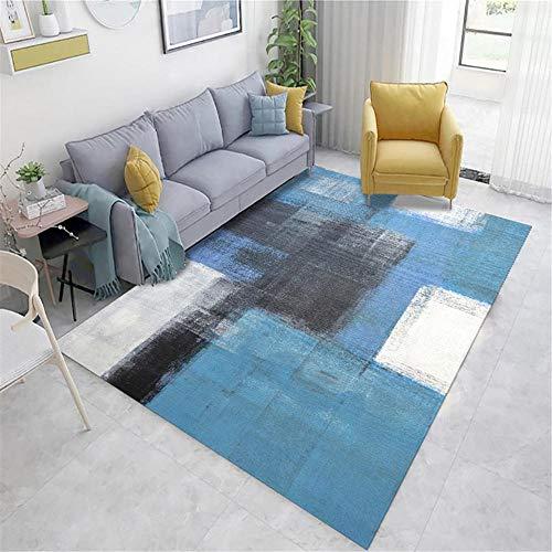 alfombra para salon Azul Alfombra de sala de estar azul gris doodle patrón abstracto con rumores antipercios habitaciones matrimonio completas 40X60CM alfombras de pasillo 1ft 3.7''X1ft 11.6''
