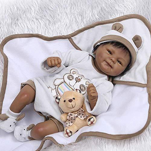 Zero Pam 18 inch Biracial Newborn Baby Dolls Preemie Size Boys Smiling Black Reborn Dolls African American Adorable Reborn Babies Alive Dolls for Kids