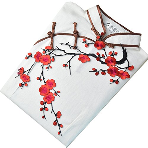 """1pcs Big Plum Blossom Iron On Patches Embroidery Flower Appliques 14.1""""x7.5"""" (36x19cm) (Red/Black)"""