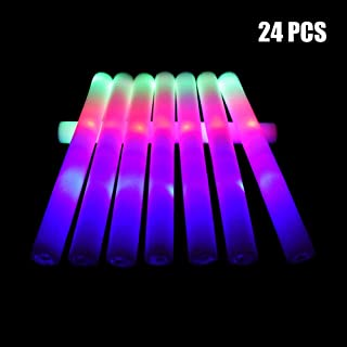 Taotuo 24pcs Foam Sticks, 3 Mode Flashing Colorful Foam Glow Sticks for Wedding, Birthday, Festivals, Halloween ?-