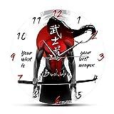 gongyu Samurái con Espada Katana caligrafía Bushido Reloj de Pared Artes Marciales Hombre Cueva Reloj de Pared decoración del hogar Regalo para Hombre