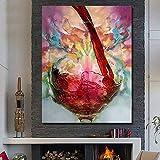 WZYWLH Moderne Abstrakte Wandkunst Handgemaltes Ölgemälde Wein Auf Leinwand Wandbild