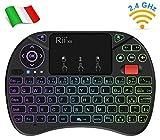 Rii Mini X8 Wireless (italienisches Layout) Mini-Tastatur mit Touchpad und Laufrad für Smart