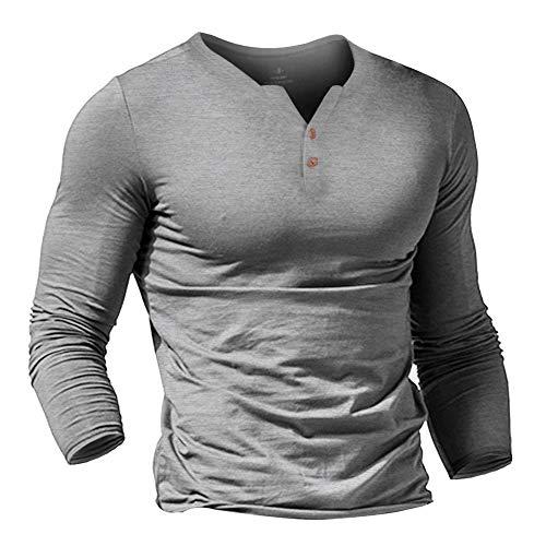 Hombres Casual Manga Corta Camiseta Soltero Botón Abertura