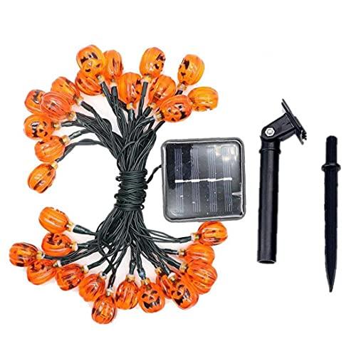 NiceButy Luces De Cadena De Calabaza De Halloween Lámpara Decorativa Led Solar Adornos De Fiesta 7m
