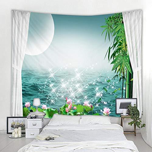 CHEMOXING Starlight Wandteppich mit Meereslandschaft, Boho-Wandteppich, Fotohintergr&, Stoff, Wohnzimmer-Blanko, 200 x 150 cm
