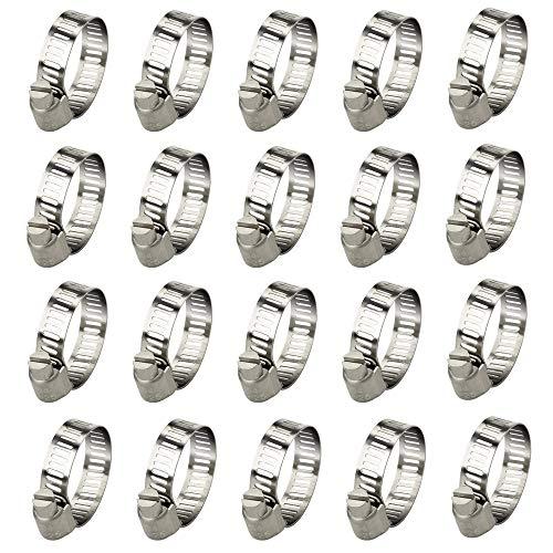 20pcs Abrazadera de Clip de Ajustable Manguera Diam 13-19 mm Abrazaderas Metalicas de 304 Acero Inoxidable Justable Flexible Manguera para Flexible para Fijación Tubería