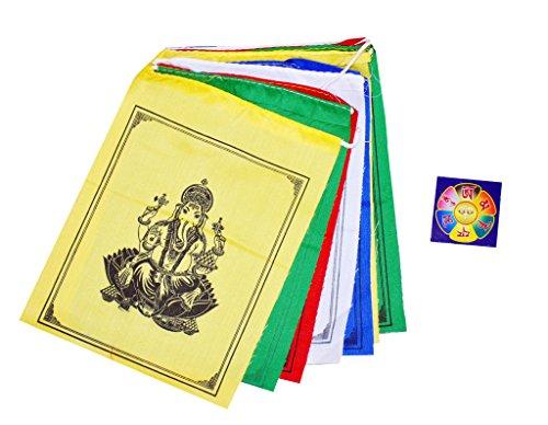 Tibetan 6 X 7 Ganesha Ganesh Prayer Flags with a Free Copyrighted Buddha Eye Magnet