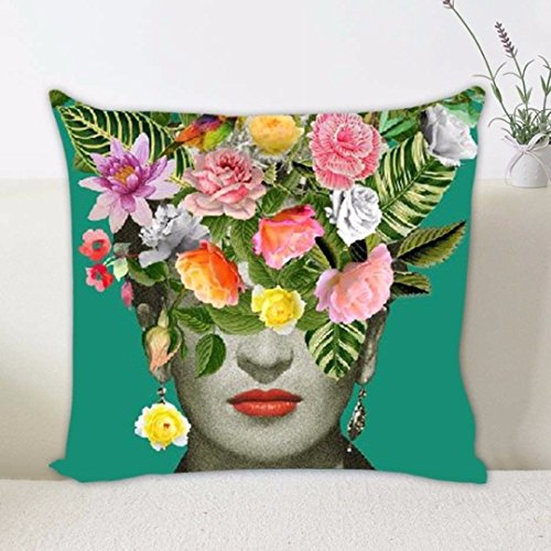 Koedu 45 * 45cm bedruckter Leinen Kissenbezug Kissenbezug mexikanischen Maler Frida Caro 1pc(ohne Kissen) (Colored Flower)