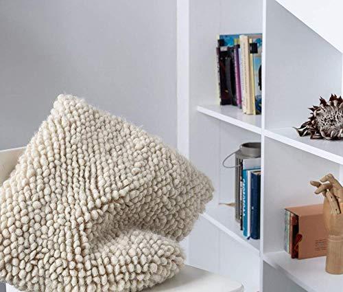 Almohada de lana natural hecha a mano, sin crueldad, para salón, dormitorio, color beige
