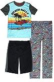 Only Boys Sleepwear Pajamas 3 Piece Pajama Set - Tee Shorts and Pants, Beach Rally, Size 8/10'