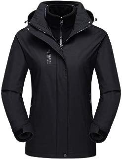 FYXKGLa Women's Outdoor Mountaineering Suit Waterproof Windproof ski Suit Cycling Sportswear Three-in-one Jacket (Color : Black, Size : XXXXL)