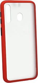 Soft Touch Transparent Hard Back Cover With Colored Silicone Edges For Samsung Galaxy M30 - Red Black