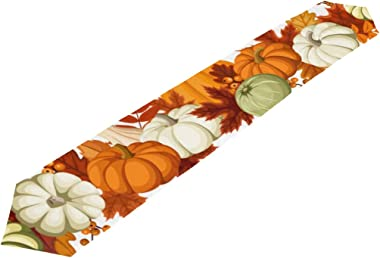 A Seed Table Runner Pumpkin Maple Leaves Thanksgiving Day Autumn Fall 13x90 Inches Extra Long Table Runners