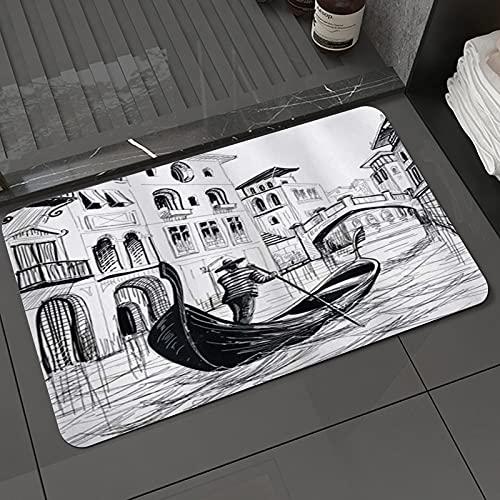 Alfombra de baño y Alfombra antideslizanteSketchy Góndola en Venecia Famoso Canal Europeo Historia Mediterráneo VacacionesAlfombrilla de Ducha de Microfibra (50x80cm)