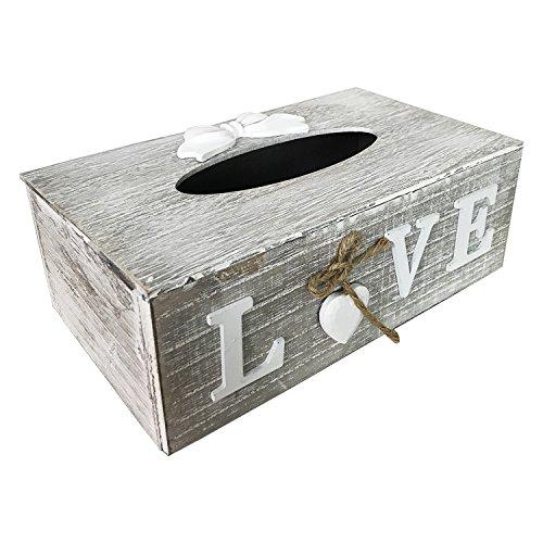 Mojawo Tissue Kosmetikbox \'Love\' mit Kosmetiktücherbox Box Spender Taschentuchspender Taschentuch Holz Grau/Weiß Shabby Look