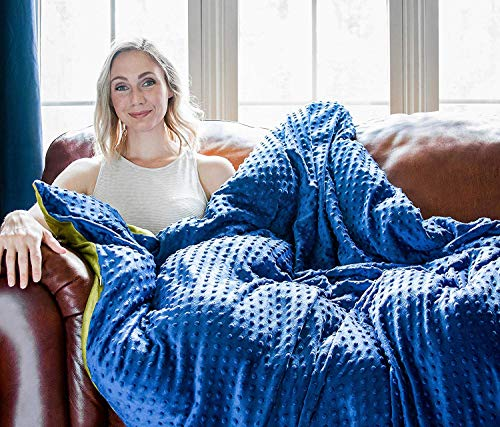 Harkla Adult Weighted Blanket 15 lbs - Soft and Comfortable Minky Fabric - Perfect for Adults who...