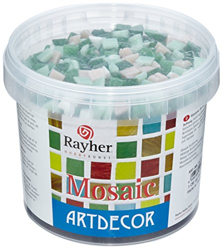 Rayher 1453013-Azulejos para Hacer mosaicos de 1 cm. 1300 Piezas / 1 kg. Sobre Madera, Vidrio, Metal, cerámica, etc, Verde