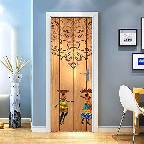 KEXIU 3D Tablón mujer africana PVC fotografía adhesivo vinilo puerta pegatina cocina baño decoración mural 77x200cm
