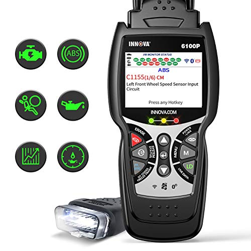INNOVA 6100P ABS SRS OBD2 Scanner Live Data, Car Code Reader Diagnostic Scan Tool with Oil Reset / Battery Charging System Test/ Full OBD II/ Repair Solutions 2 APP