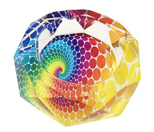 Aschenbecher aus Kristallglas, achteckig, Durchmesser 9,9 cm, mit 4 Rillen, für Zuhause, Büro, Schreibtisch, Dekoration (bunte Punkte)