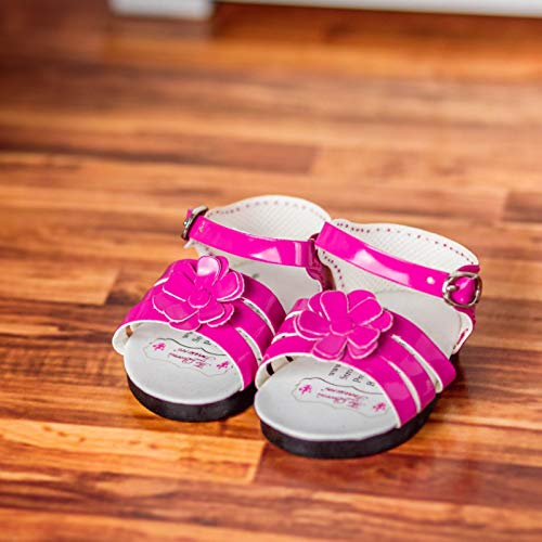 """18"""" Doll Shoes Clothing Accessory Compatibly Sized for American Girl, Pink Strappy Sandal & Shoe Box"""