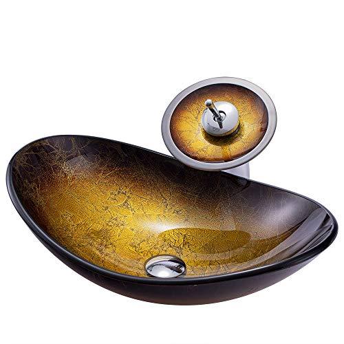 HomeLava Modern Waschbecken Gehärtetes Glas Aufsatzwaschbecken Oval mit Wasserfall Wasserhahn Badarmatur
