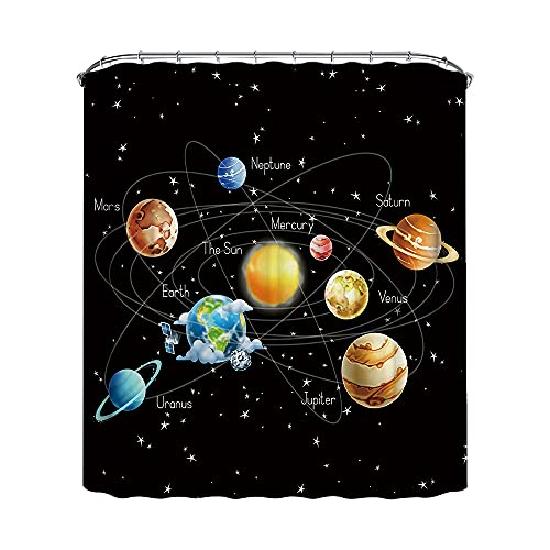 BELIFEGLORY Galaxy Space Planets Shower Curtain for Bathroom Waterproof Fabric Decorative Shower Curtain Set with 12 Hooks, 72 X 72 Inches