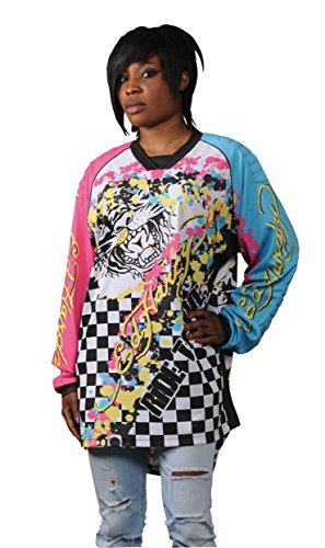 Ed Hardy Crazy Camiseta de Manga Larga, Multicolor, L