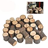 WOWOSS 30 Pcs Rustic Wood Place Card Holders Circular Table Numbers Holder Stand Wooden Bark Memo Holder Card Photo Picture Note Clip Holders for Wedding Party Table Number Sign