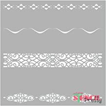 Museum Grade Ultra Thick Clear Color Material Border Stencil - Chic Victorian Edge Continuous Decor Pattern Template-Multipack (M, L, XL)