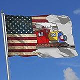 Elaine-Shop Banderas al Aire Libre Bandera de EE. UU. Tren de Vapor Bandera de 4 * 6 pies para decoración del hogar Fanático de los Deportes Fútbol Baloncesto Béisbol Hockey