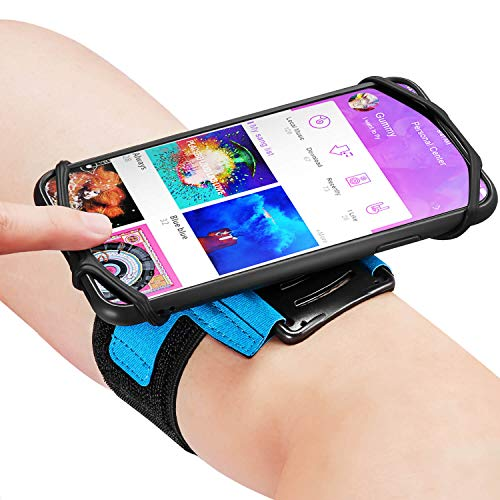 Newpon 360° Rottable Running Phone Armband:with Key Holder for Apple iPhone 12 11 Pro Max XS XR X 8 6 6S Plus Samsung Galaxy S10 S9 Edge Note 8 Google Pixel, for Sports Workout Übung Jogging