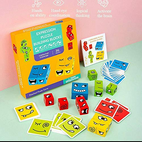 RJZF Puzzle Building Blocks Health Emotional Geometric Cube, Faces Change Interactive Wooden Model Constructor, Educational Kids Toys