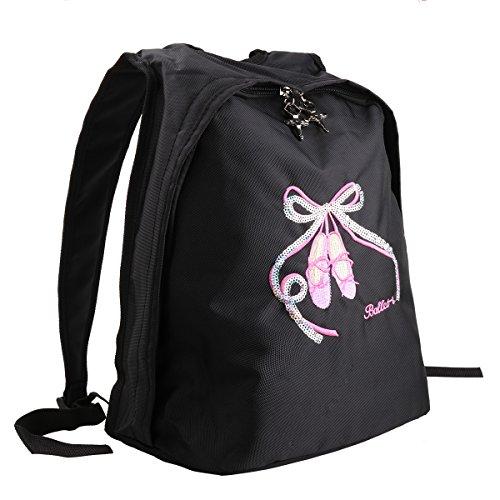 CHICTRY Kids Girls Ballet Shoes Embroidered Dance Shoulder Bag Dancing School Ballet Gym Backpack Black 27.5 x 14.5 x 33.5cm