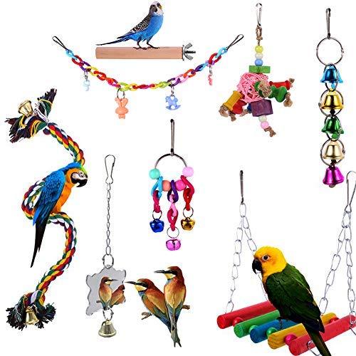 Paquete de 8 juguetes para loros de pájaros, juguetes para masticar columpios de pájaros, soporte para colgar campanas, escaleras, jaula de pájaros..